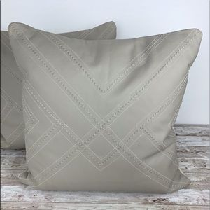 Leather stitched feather down accent pillows set 2
